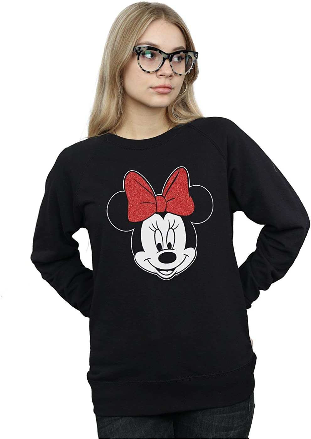 Disney mujer Minnie Mouse Head Camisa De Entrenamiento