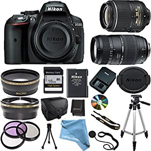 Nikon D5300 Camera Body with Nikon 18-55 VR Lens, Tamron 70-300mm Zoom Lens, Wide Angle Lens, Telephoto Lens, High Speed Memory Card, Camera Case, Full Size Pro Tripod, 3Pcs Filter Kit and More