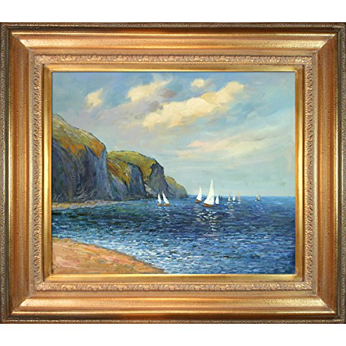 Oil Framed 24 Reproduction Painting (Hand-Painted Reproduction of Claude Monet Cliffs and Sailboats at Pourville Framed Oil Painting, 20 x 24)