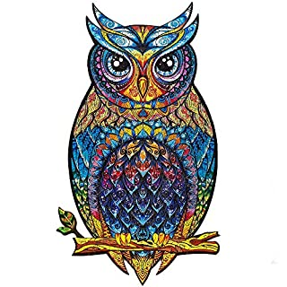 Unidragon Wooden Jigsaw Puzzles - Unique Shape Jigsaw Pieces Best Gift for Adults and Kids Charming Owl 8.3 × 13.8 in (21 × 35 cm) – M