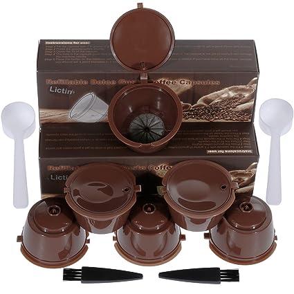 Lictin 6 Pack Cápsulas Filtros de Café Recargable Reutilizable para Cafetera Dolce Gusto Resistente Más de ...
