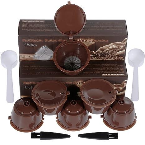 Lictin 6 Pack Cápsulas Filtros de Café Recargable Reutilizable para Cafetera Dolce Gusto Resistente Más de
