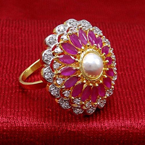 Banithani Belle Goldplated Bague réglable de mariage Mode AD Bijoux cadeau pour elle