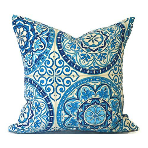 Outdoor Decorative Throw Pillow Cover Any Size OD Color Wheel Indigo
