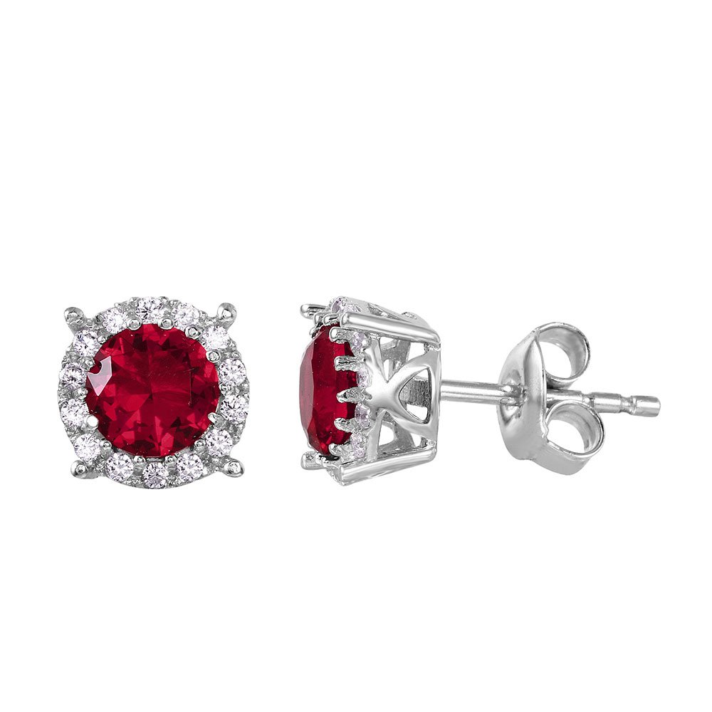 Simulated Ruby Cubic Zirconia Center Halo Stud Earrings Rhodium Plated Sterling Silver