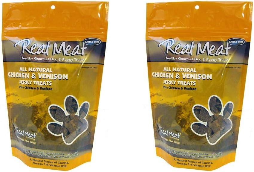 The Real Meat Company Chicken Venison Jerky Dog Treats 2 Pack