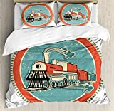 Steam Engine Duvet Cover Set Queen Size by Ambesonne, Vintage Style Orange and Blue Banner Train Transportation Retro Old, Decorative 3 Piece Bedding Set with 2 Pillow Shams, Turquoise Salmon Ivory