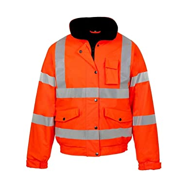 Mens Hi Viz High Visibility Bomber Safety Work Black Hooded Jacket Coat All Size Personal Protective Equipment (ppe)