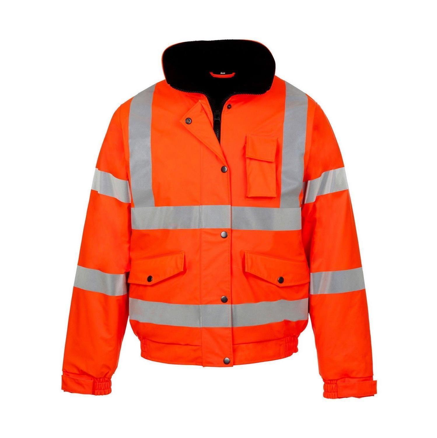 Hi Viz High Vis Visibility Quality Bomber Jacket Waterproof Security Coat XL