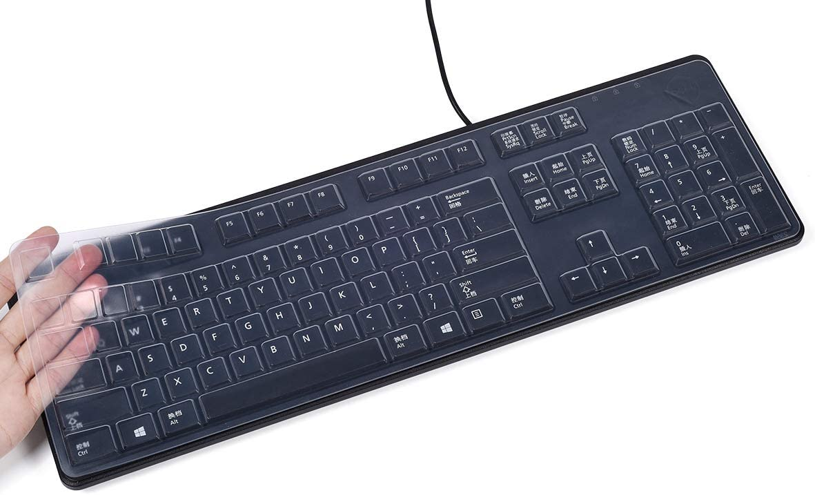 Clear CASEDAO Ultra Thin Silicone Keyboard Cover Compatible with Dell Keyboard KB212-B KB4021 104-key Wired Keyboard