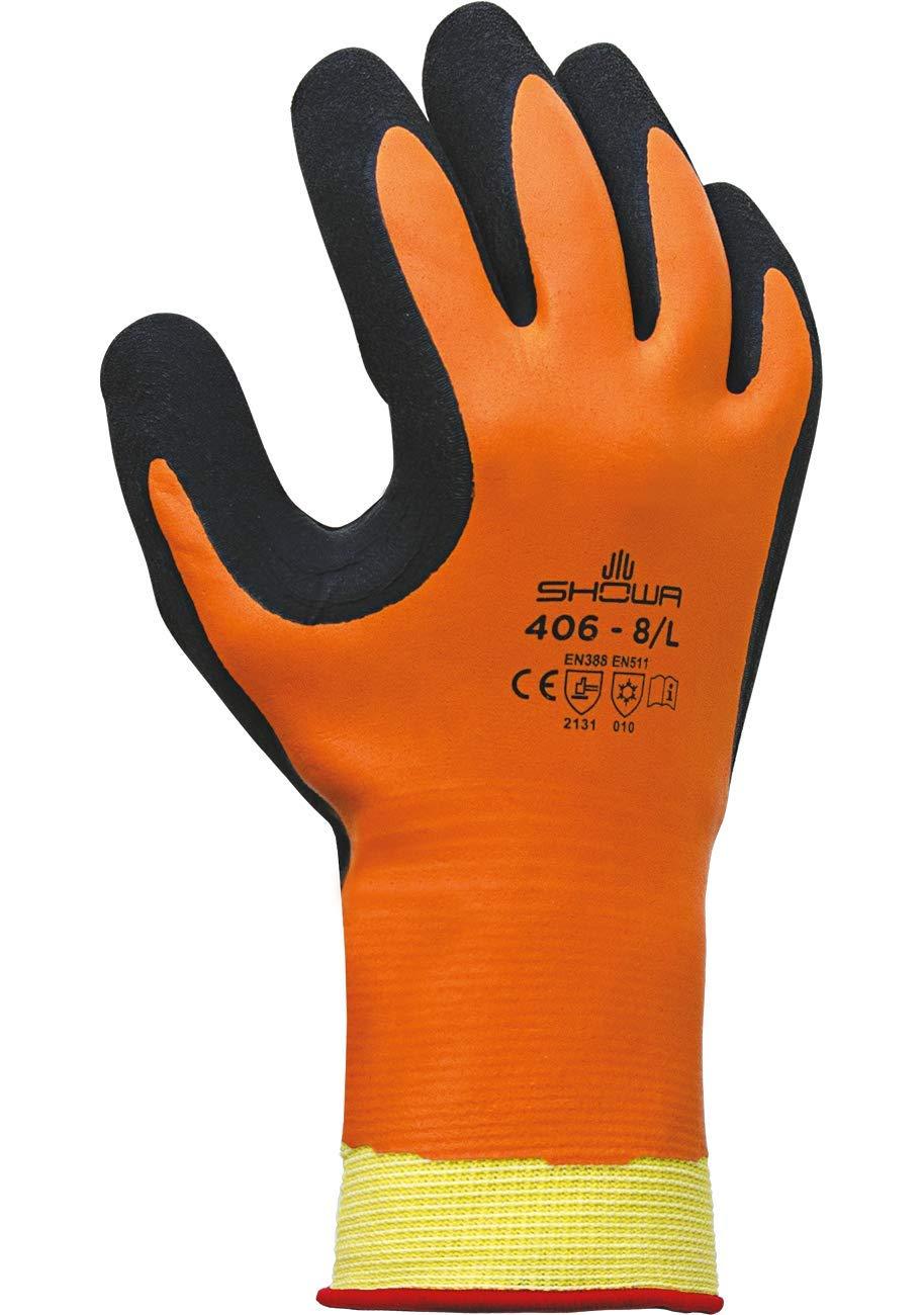 SHOWA 406 Latex de caoutchouc naturel Main Gants Orange//noir single