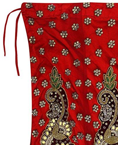 Rouge Femmes Tissu Indian Filet Main Rouge Long Vintage en Lehenga Nuptiale Jupe d'occasion Perles q4wHxfgOa