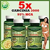 5 x BOTTLES 300 GARCINIA CAMBOGIA Capsules 3000mg Daily HCA 95% Fat Weight Loss