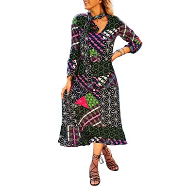 ad5096a47b446 kaifongfu V-Neck Dress Women Long Sleeve Geometric Printed Maxi Dress(Blue