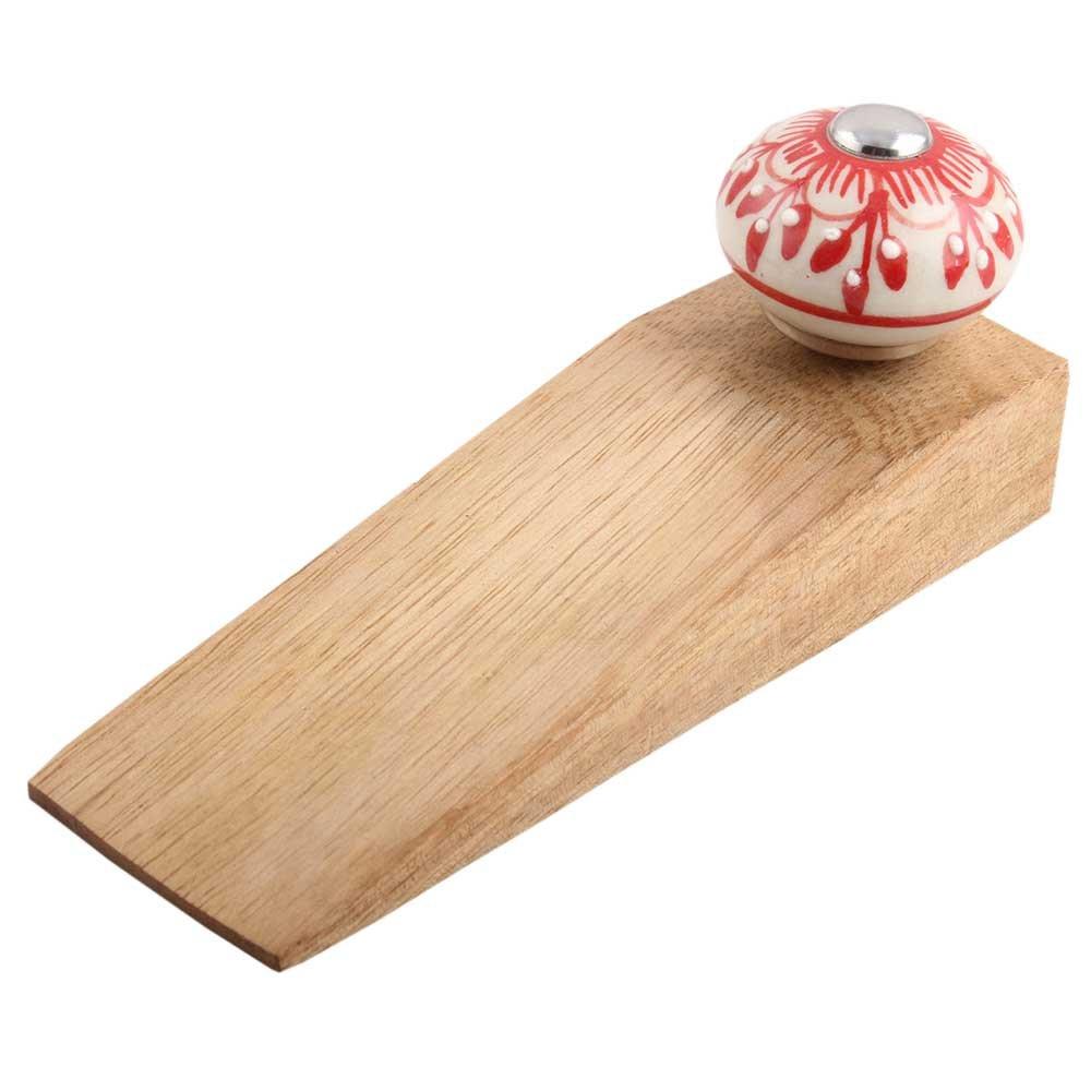 IndianShelf Handmade Red Zinnia Flower Wooden Ceramic Door Stoppers Premium Stop Wedge Work On All Floors Non Stretching Strong Grip