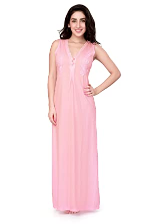 ac76416caf HoneyDew - Womens Cotton Hoisery Plain Nighty - Pink Color, V Neck, Lace at