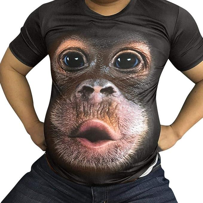 Camisetas Hombre Originales 3D SHOBDW 2019 Cuello Redondo Tallas Grandes Verano Camisetas Hombre Manga Corta Estampado de Orangután Blusa Tops S 3XL