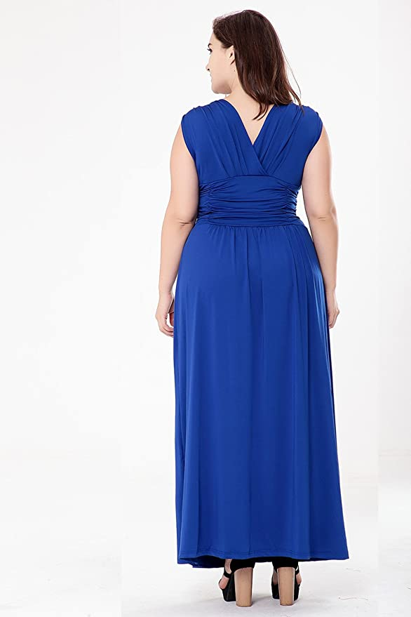 V.C.Formark Maxi Bothemian Dress V-Neck Ruched For Women Casual at Amazon Womens Clothing store: