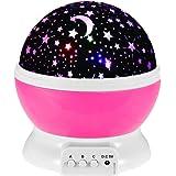 GRDE Veilleuse Boule Rotation Etoile, Lampe Table Chevet Galaxy Projection Ambiance pour Des Enfants, Avec USB Cable Non livre EU prise(Rose Pale)