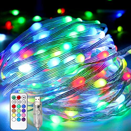 Aluan Fairy Lights 100LED 39.4ft Twinkle Lights 12 Modes 12 Colors Changing String Lights with Remote Timer, USB Powered Clear PVC Wire Christmas Lights Decor for Bedroom, Wedding, Halloween Indoor