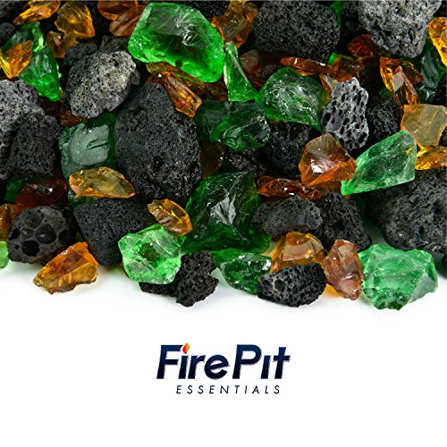 Blended Fire Glass and Lava Rock - Mixed Fire Glass Blend of Colored Fire Pit Glass and Volcanic Rock for Indoor and Outdoor Gas Fire Pits and Fireplaces 10 Pounds (Kilauea Forest) (With Pit Crushed Fire Stone Patio)