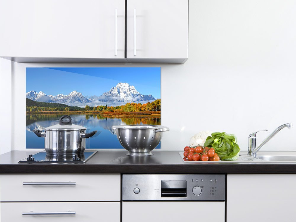 GRAZDesign 200150_60x40_SP Küchenrückwand Herd | Spritzschutz aus Echtglas | Landschaftsbild See Berge Wald im Herbst | Glasbild für Küche (60x40cm)