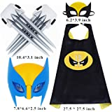 Fundisinn Wolverine 5 Packs Cartoon Costumes Light Mask & Satin Cape & Safe Claws Role Play Dress Up Costumes for Kids