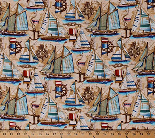 Cotton Sailboats Sailors Knots Compass Vintage Boats Anchors Nautical Bayshore Collection Tan Cotton Fabric Print by the Yard ()