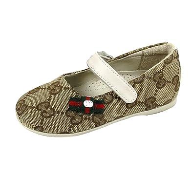 a737d0a8b53d Amazon.com  Gucci Beige Kids GG Canvas Ballet Web Bow Flats Shoes 259028  Gucci 22   US 6  Shoes