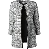 Tahari ASL Womens Plus Long Sleeves Boucle Jacket Ivory 4