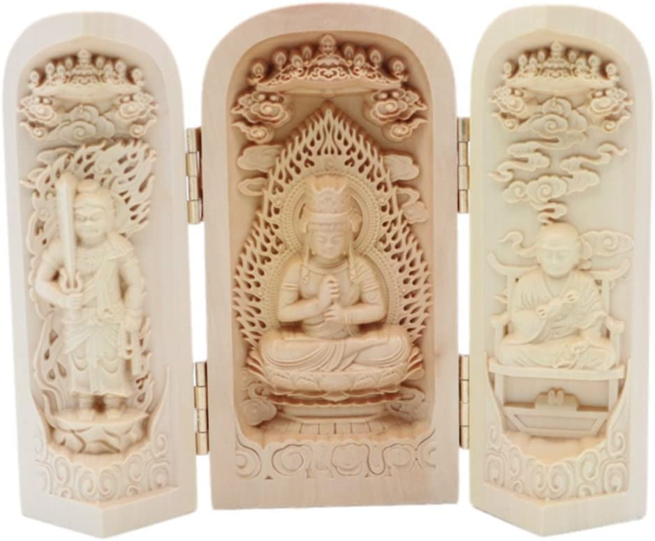 EBISSY Buddha Statue Small Hand Carved Wooden Box [ Home Decor Mini Buddhist Altar ] Portable Temple (Mahavairocana)