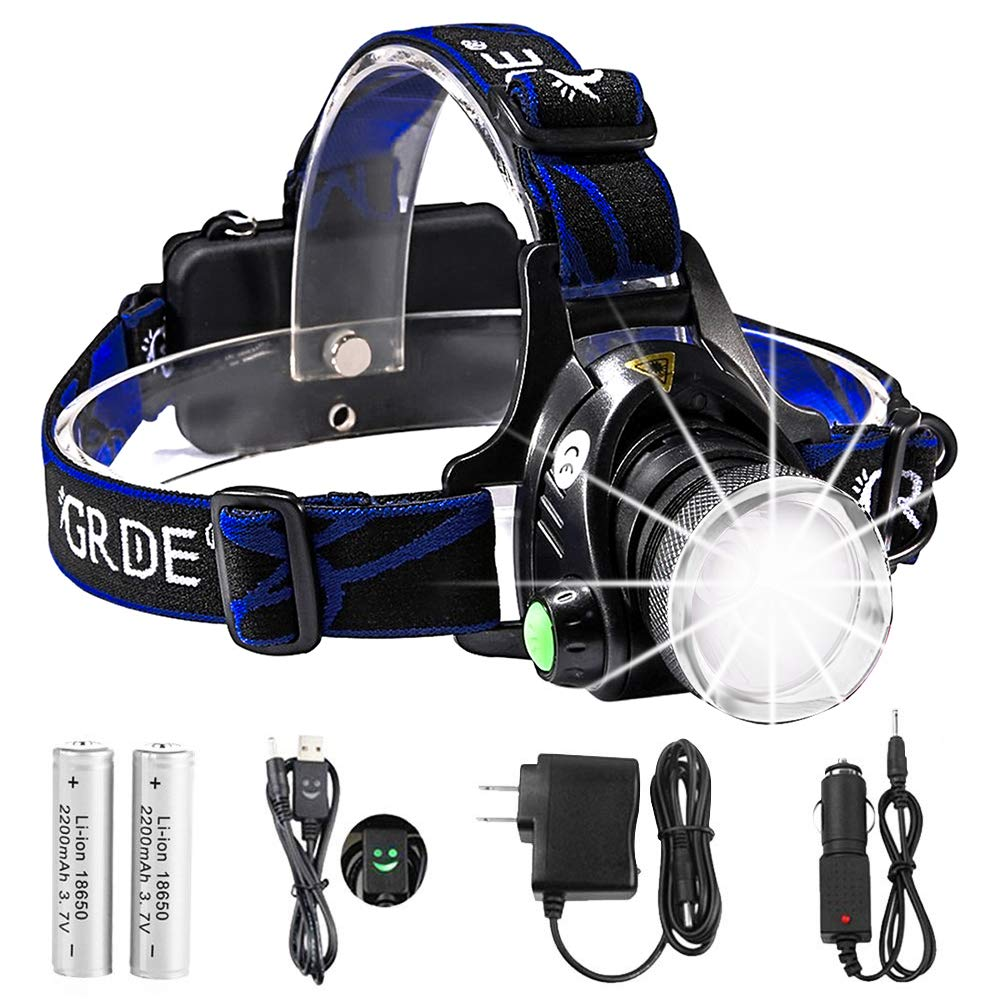 Headlamp,GRDE Rechargeable Led Headlamp Headlight Flashlight 3 Modes with Adjustable Thick Head Strap for Camping Hiking Fishing BBQ Repairing Night Walking Morning Running(Purple) by GRDE (Image #1)