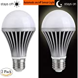 Dusk to Dawn Light Bulb Sensor Smart LED Outdoor Lighting Bulbs Lamp 12W E26/E27 Automatic On/Off Indoor / Outdoor Yard Porch Patio Garden (Warm White, 2 pack)
