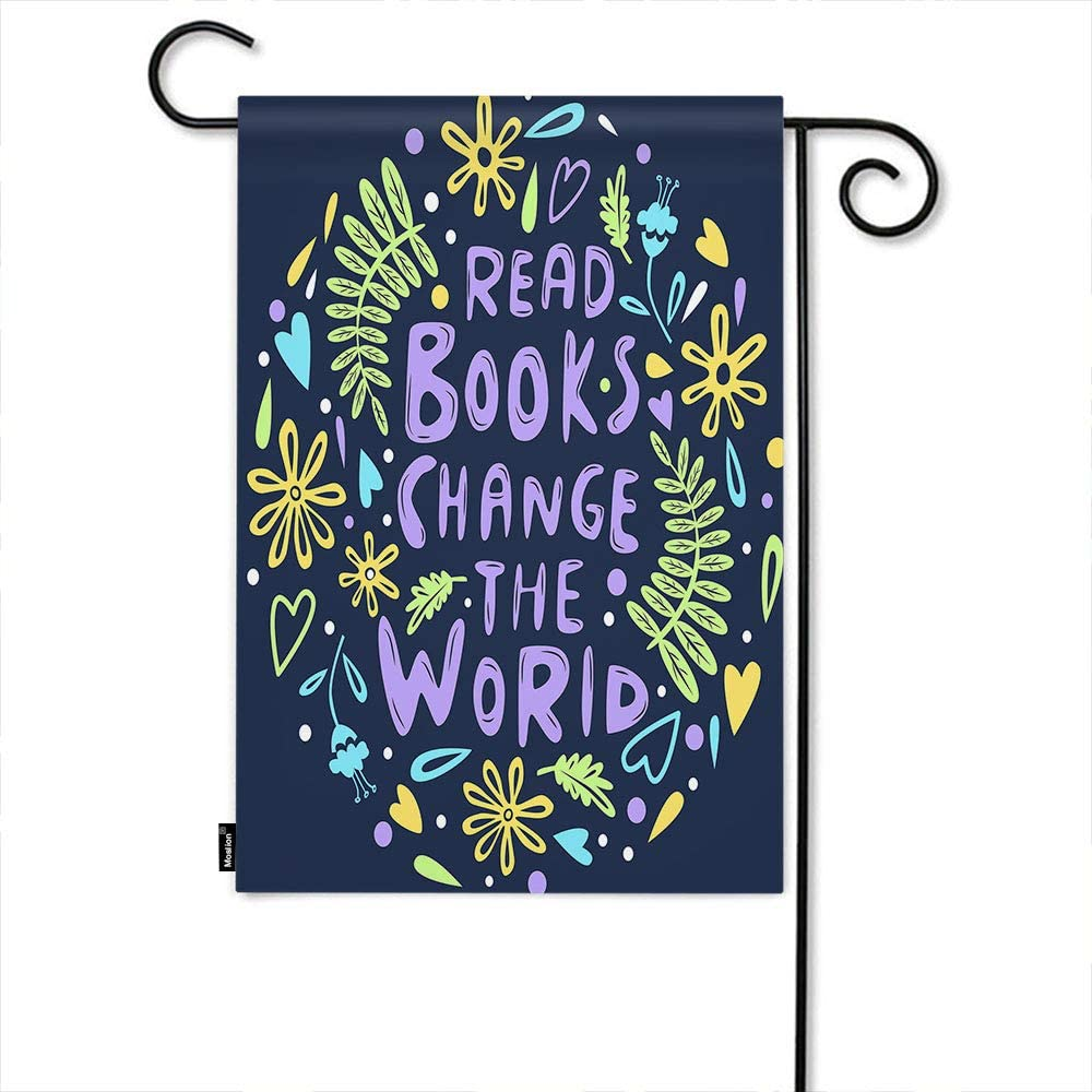 Moslion Motivational Quote Garden Flag Flower Leaf Heart Read Books Change The World Word Home Flags 12x18 Inch Double-Sided Banner Welcome Yard Flag Outdoor Decor. Lawn Villa