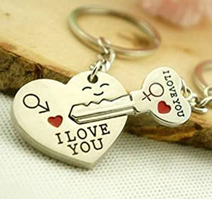 Amazon Com Liroyal Couple Keychain Keyring I Love You Heart