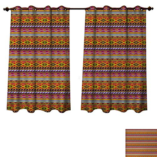 (Anzhouqux Mexican Blackout Thermal Curtain Panel Folkloric Old Vintage Ornament Design with Geometric Shapes and Stripes Colorful Patterned Drape for Glass Door Multicolor W72 x L72 inch)