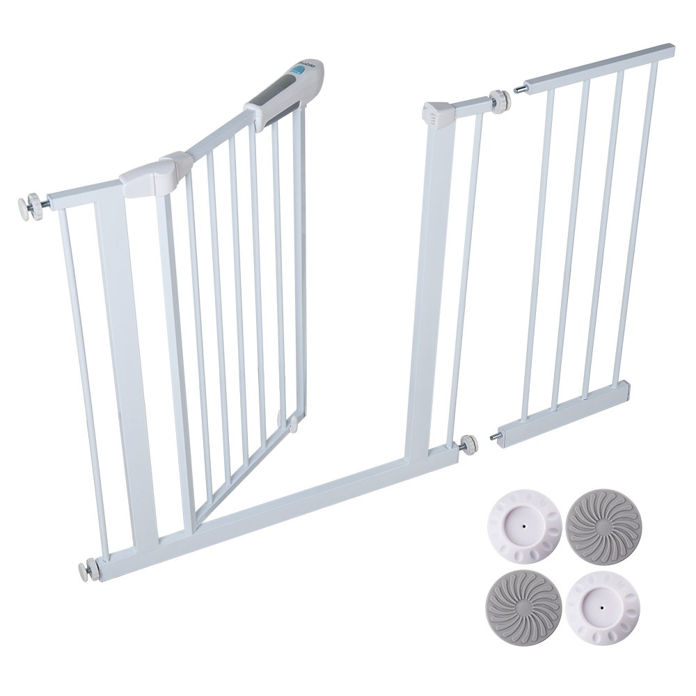 Sable Baby Safety Gate, Pressure Mounted Easy Step Walk Thru Gate with Wall Cups for Kids or Pets, Safe to Use, Easy to Install without Drilling Wall,Impact Resistant Seamless Steel Piping 27.6''–39.4''