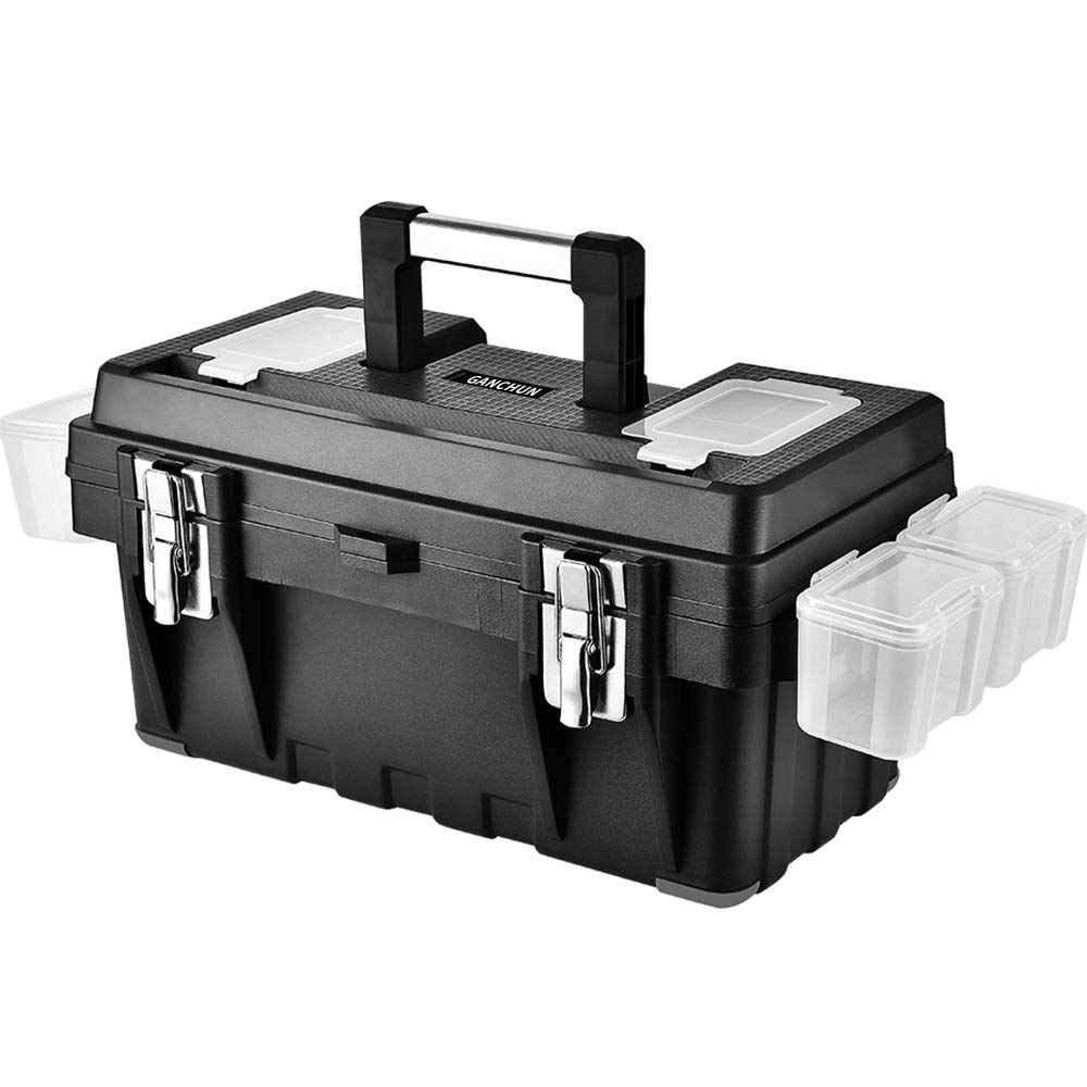 GANCHUN 16-Inch Plastic Tool Box with Spare Parts Boxes,Removable Partitions and Multiple Compartments Toolbox for Home Tool Storage