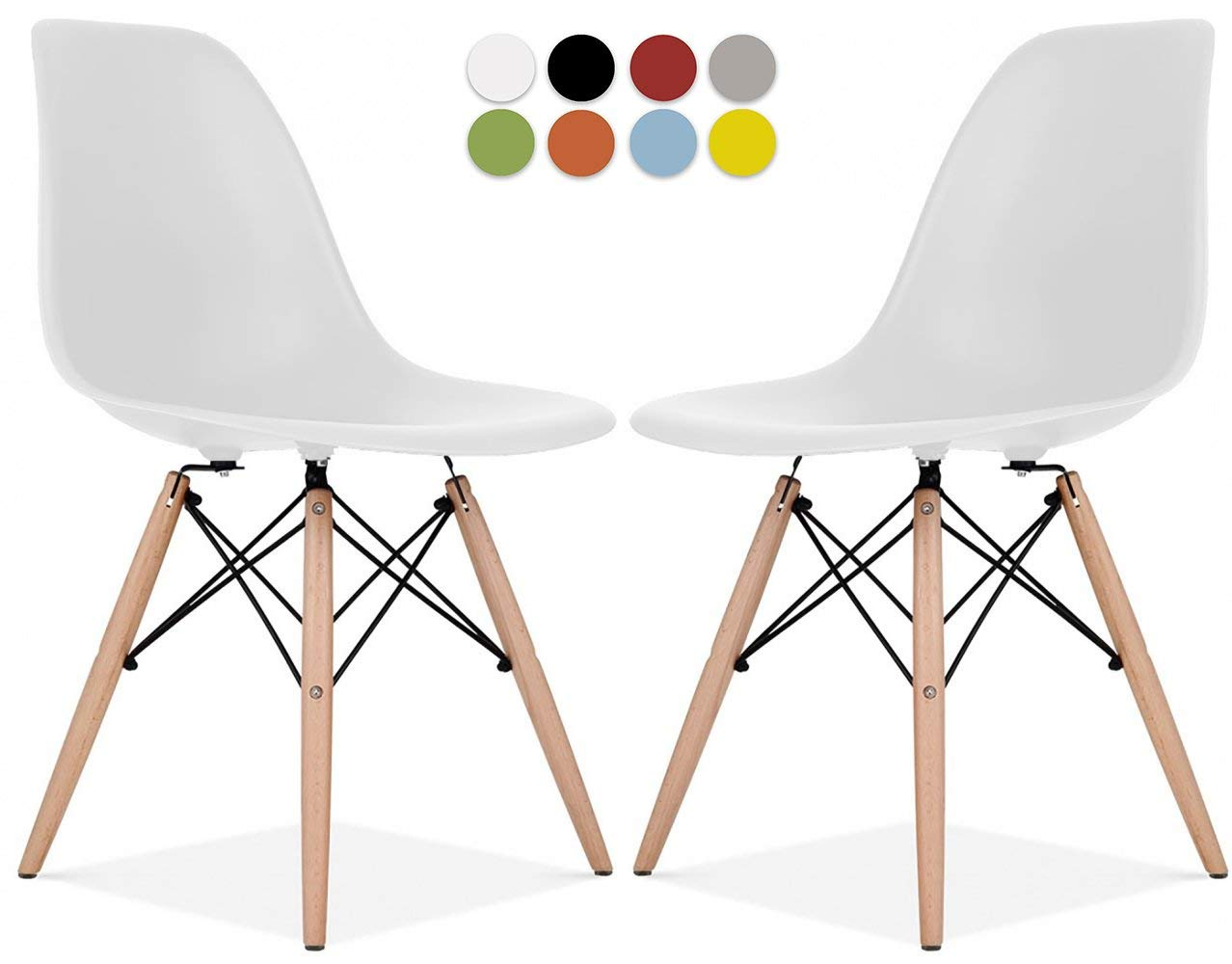 Le Vigan Mid Century Modern Molded Shell Chair with Dowel Wood Eiffel Legs - Set of 2 - for Dining Room, Kitchen, Bedroom, Lounge - Easy-Assemble & Clean - White