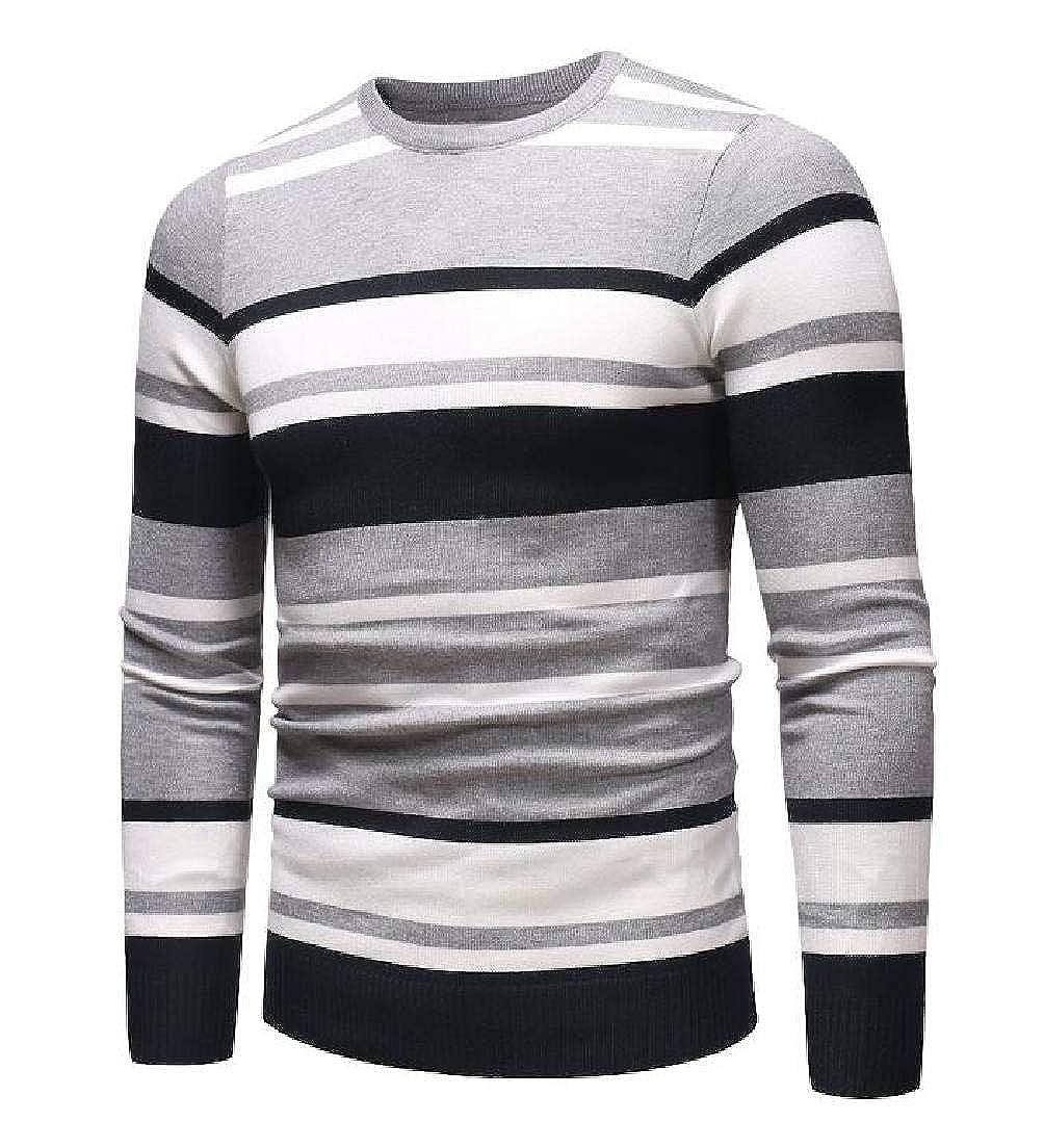 KLJR Men Slim Fit Round Neck Stripe Print Pullover Knit Long Sleeve Sweater