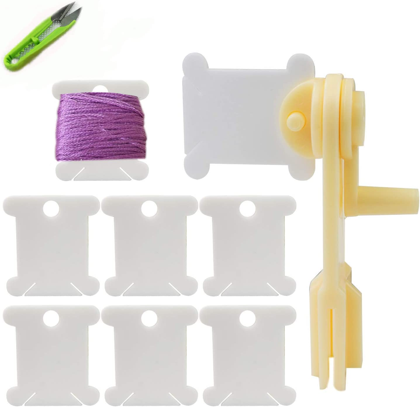 Faxco 240Pcs Colored Plastic Floss Bobbins for Cross-Stitch Bobbins Card Thread Holder Store Floss Craft DIY Embroidery Floss