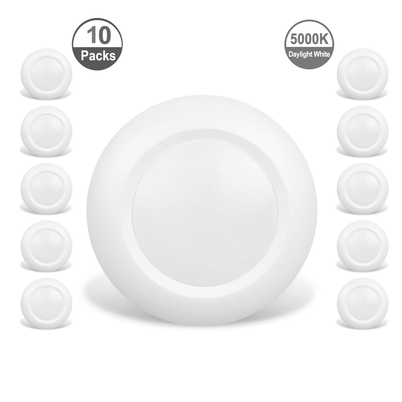 JULLISON 10 Packs 4 Inch LED Low Profile Recessed & Surface Mount Disk Light, Round, 10W, 600 Lumens, 5000K Day Light White, CRI80, DOB Design, Dimmable, Energy Star, ETL Listed, White