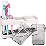 Funly mee Toothbrush and Toothpaste Stand Holder with 2 Cups for Bathroom Storage Organizer,4 Slots for Electric…