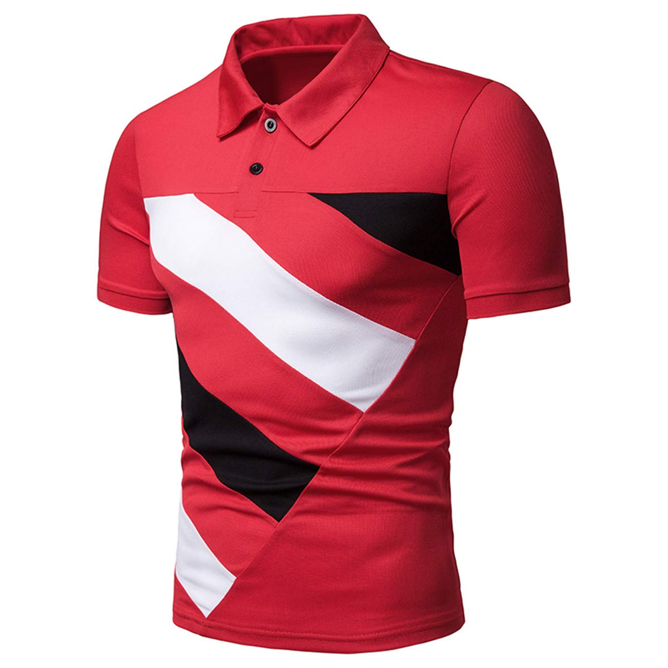 Mens Stitching Color Short Sleeve Leisure and Fashion Polo Shirt