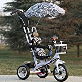 QXMEI Children's Tricycle 1-6 Multi-function Children's Tricycle Baby Bicycle Infant Cart Kids Bike,White