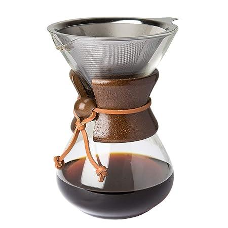 Pour Over Cafetera con borosilicato Grass Jarra Y Filtro de Acero Inoxidable Reutilizable - 500ml de filtros de café Manual Brauer. con Madera De ...