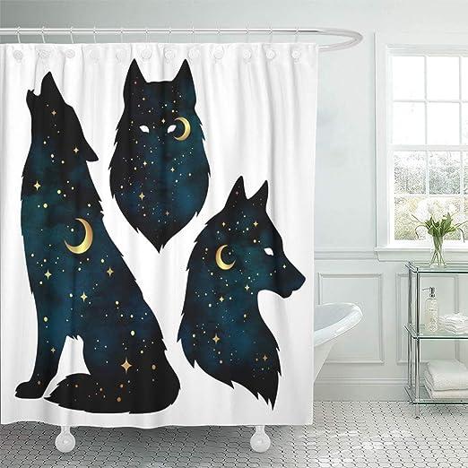 Siluetas de lobo con luna creciente y estrellas pegatina tatuaje ...