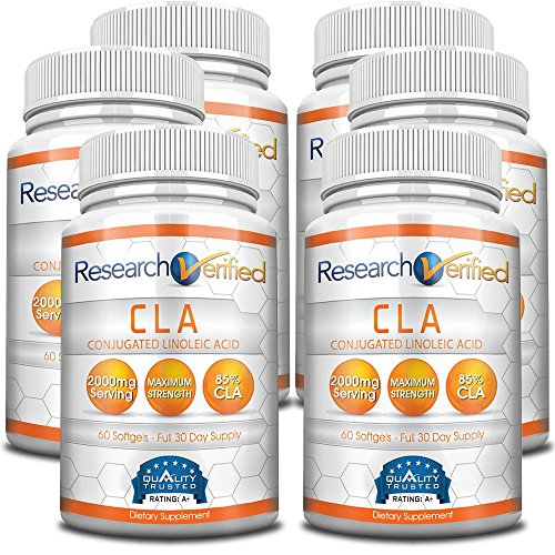 Research Verifed CLA - 2000mg 85% Conjugated Linoleic Acid - Top Proven Potency - 100% Pure - 100% 365 Days Money Back Guarantee - 6 Bottles (6 Months Supply) - Natural Weight Loss Management