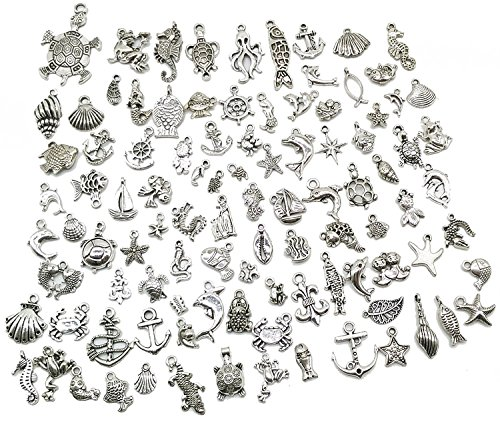 Wholesale Bulk Lots Jewelry Making Silver Charms Mixed Smooth Tibetan Silver Metal Charms Pendants DIY for Necklace Bracelet Jewelry Making and Crafting (20Pcs)