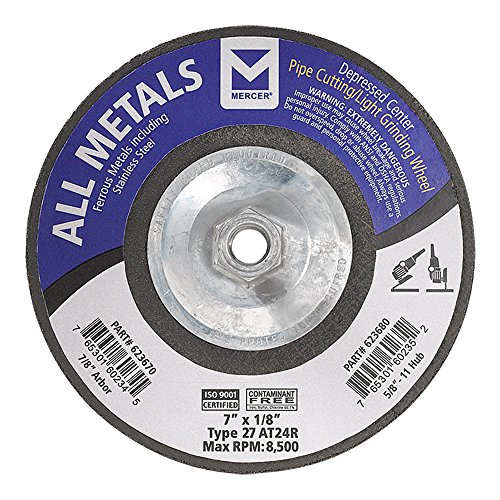 Mercer Industries 623680 Type 27 Pipe Cutting and Light Grinding Wheel for All Metals, Including SS, 7'' x 1/8'' x5/8''-11, 10 Pack by Mercer Industries